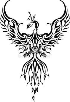 Fictional fiery bird phoenix in abstract flame. phoenix tattoo Fictional fiery bird phoenix in abstract flame. Tribal Phoenix Tattoo, Phoenix Bird Tattoos, Phoenix Tattoo Design, Rising Phoenix Tattoo, Phoenix Back Tattoo, Tribal Lion Tattoo, Phoenix Design, Phoenix Drawing, Phoenix Art