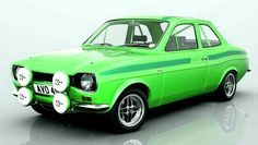 model of the classic Ford Escort, rendered with many different stripe and body colours. A slection of alloy wheels from classic RS Alloys to large racing BBS rims. Classic Cars British, British Sports Cars, Ford Classic Cars, Escort Mk1, Ford Escort, Cars Uk, Race Cars, Automobile, Car Brochure