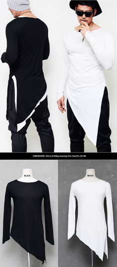 Tops :: Tees :: Sharp Diagonal Cut Triangle Cuff Round-Tee 405 - Mens Fashion Clothing For An Attractive Guy Look