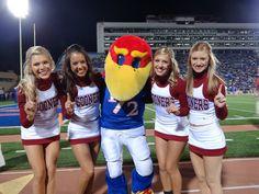 University of Oklahoma Spirit Program,   cheerleading, cheer, cheerleaders     with Kansas mascot     pinterest.com/kythoni