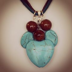 Turquoise heart bead and suede leather necklace with coordinating earrings by HaydeeDesigns on Etsy https://www.etsy.com/listing/216499546/turquoise-heart-bead-and-suede-leather #handmade #valentine #valentinesday
