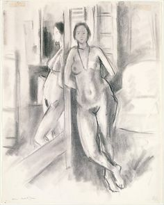 Reflection in the Mirror  Henri Matisse (French, Le Cateau-Cambrésis 1869–1954 Nice)  Date: early 1923 Culture: French Medium: Charcoal on paper