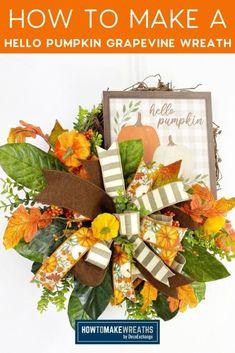 Hello Pumpkin Autumn Grapevine Wreath - How to Make Wreaths - Wreath Making for Craftpreneurs Autumn Wreaths, Holiday Wreaths, Wreath Fall, Make Your Own Wreath, How To Make Wreaths, Pumpkin Door Hanger, Magnolia Wreath, Natural Christmas, Fall Door