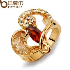 Newest Arrival 18K Rose Gold Plated Ring for Wedding Made with AAA Zircon Crystal High Quality Bamoer Jewelry JSR001