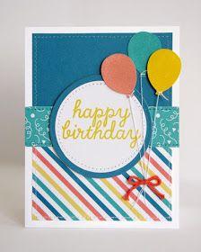Birthday Card Ideas : Snippets By Mendi: Stampin Up Paper Pumpkin May 2015 Kit-Birthday Cards Birthday Cards For Boys, Bday Cards, Handmade Birthday Cards, Happy Birthday Cards, Greeting Cards Handmade, Birthday Crafts, Ballon Party, Karten Diy, Paper Pumpkin
