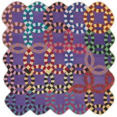 """In Double Wedding Ring, the only quilt created by an African-American woman in the exhibition, the artist placed multiple colors against a bold, purple background to create an expressive, inventive design. In the words of Gerald Roy, """"African American quilts are as diverse as all other quilts. Celebrating with color is inherent in us all."""" Double Wedding Ring Quilt American, Missouri, African-American, about 1940. On view in Quilts and Color. #quilt"""
