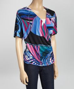 Love this Blue Abstract Surplice Top by Quiz on #zulily! #zulilyfinds