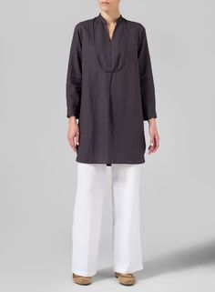 MISSY Clothing - Linen Tuxedo Front Long Blouse