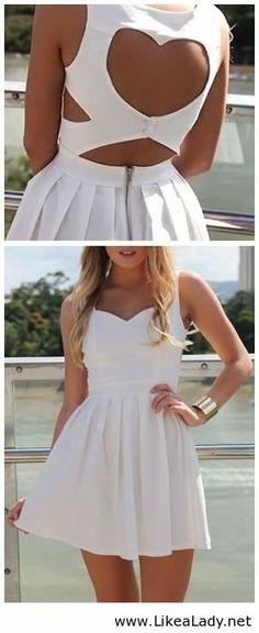 White Heart Cutout Dress - cute for bachelorette or bridal shower or even rehearsal :)