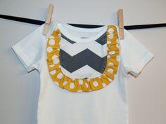 Gray Chevron Ruffle Bodysuit, Easter Clothes, Baby Girl Gray Yellow Bodysuit, Applique Girl Bodysuit, First Birthday Bodysuit