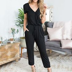 Casual V Neck Solid Jumpsuit – wanokitty romper jumpsuit summer jumpsuit casual rompers jumpsuit casual Black Women Fashion, Look Fashion, Fashion Models, Fashion Outfits, Cheap Fashion, Woman Outfits, Affordable Fashion, Chic Outfits, Fashion Clothes