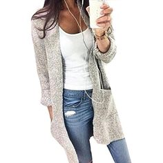 Womens Cardigan Open Front Knit Sweater Long Coat With Pockets    Details  can be found 2680dda8c