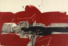 "M. Millares, ""Composition à fond rouge"", técnica mixta sobre papel 48,5 x 71 cm. Mixed Media Artwork, Mixed Media Collage, Abstract Sculpture, Abstract Art, Contemporary Paintings, Amazing Art, Alberto Burri, Art Drawings, Moose Art"
