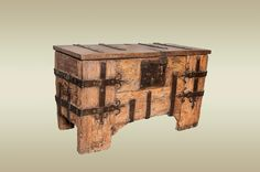 """Circa 1400 Medieval German iron bound chest ~ Small Medieval oak chest, clamp front in construction and the iron work consists of flat straps with Fleur de Lys motif and a large butterfly lock plate. 36 1/2"""" x 21 3/4"""" x 16"""""""