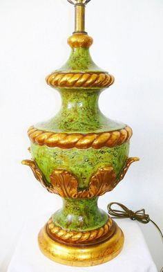 Vintage Stunning Nardini Studio Green Gold Gilt Acanthus Leaf Ceramic Lamp