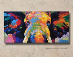 Colorful elephant painting on canvas wall decor by SumareeART Elephant Wall Decor, Elephant Art, Elephant Paintings, Abstract Canvas, Canvas Art, Abstract Paintings, Art Paintings, Coloring Canvas, Colorful Elephant