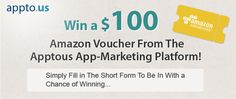 To celebrate the launch of our new mobile app marketing and promotion platform, we've giving away a $100 AMAZON VOUCHER! Head over to our facebook page www.facebook.com/apptous