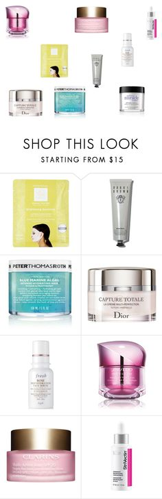 """""""Current fav skincare"""" by tyronewelle ❤ liked on Polyvore featuring beauty, Dermovia, Bobbi Brown Cosmetics, Peter Thomas Roth, Christian Dior, Fresh, Shiseido, Clarins, StriVectin and philosophy"""