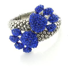 Paw Print Blue Pave Crystal Hinged Cuff Bracelet