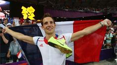 Renaud Lavillenie of France celebrates winning gold in the men's Pole Vault Final on Day 14 of the London 2012 Olympic Games at Olympic Stadium