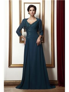 $ 166.79 Marvelous Appliques A-Line Floor-Length V-Neck Taline's Mother of the Bride Dress