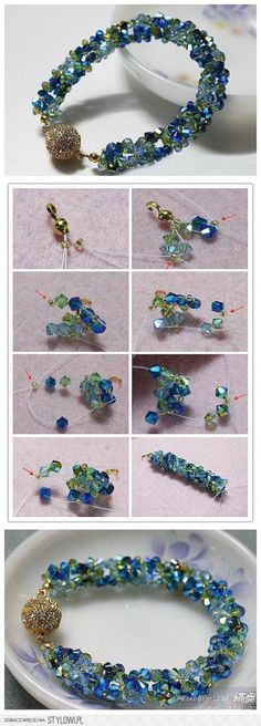 Fashion can be bought, or MADE! 15 DIY Bracelets  Follow the picture instructions.  Beading is where I began and this is beautiful to me!  I might tone down the round bauble though...maybe use a sea inspired link?