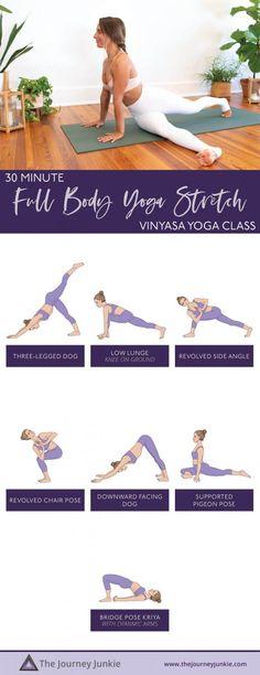 30 Minute Vinyasa: Full Body Yoga Stretch - The Journey Junkie Yoga Inversions, Vinyasa Yoga, Yoga For Beginners, Beginner Yoga, Hiit, Yoga Fitness, Yoga Arm Balance, Fitness Bodybuilding, Yoga Illustration
