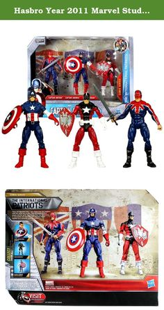 Hasbro Year 2011 Marvel Studios Captain America The First Avenger Series Exclusive 3 Pack 4 Inch Tall Action Figure Set - CAPTAIN BRITAIN with Sword, CAPTAIN AMERICA with Shield and RED GUARDIAN with Shield. These are legendary men - men forged from the toughest stuff this world has to offer. They are heroes to their people and the world. And though they may be distinct in personality and approach, they each are bound together by a universal quest for justice.