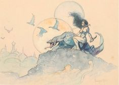 "Frank Frazetta ""Planet Venus"" Painting Original Art (c. A stunning watercolor study that - Available at 2018 November 15 - 17 Comics &. Fantasy Art Men, Fantasy Kunst, Fantasy Artwork, Art And Illustration, Illustrations Posters, Frank Frazetta, Comic Kunst, Comic Art, Comic Book"