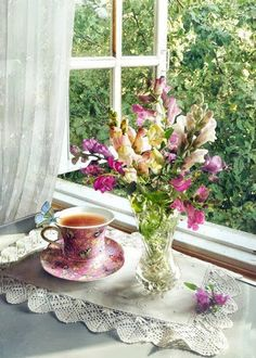 ~~~ My Beautiful Mom, Tea and Flowers Just For You. I Miss You Mom So Very Much, xox