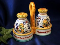 Deruta Raffaellesco Italian Pottery Salt Pepper Set w Caddy Italy | eBay