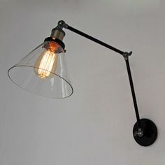 Industrial Library Swing 0ut Arm Clear Glass Wall Lamp Metal Sconce 20th. C #CY #Vintage