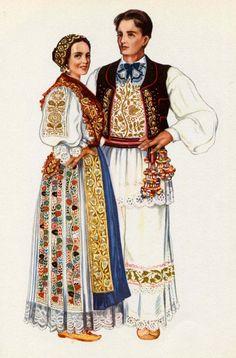 Croatian National Costume Print Vintage 1950s by SkippiDiddlePaper, $8.00