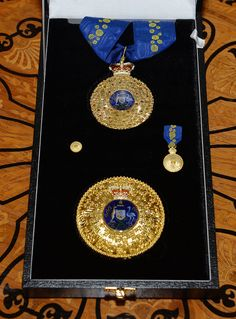 The badges of the Knight of the Order of Australia presented to Prince Philip.