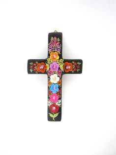 Mexican cross hand painted com Chiapas, Mexico