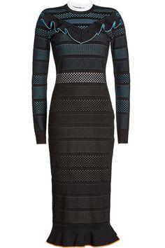 VERSACE Mesh Dress With Ruffled Trims. #versace #cloth #