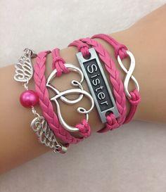 3pcs infinity handmade bracelet.metal charm,wax cord,leather bracelet ,fashionable jewerlly bracelet 3854