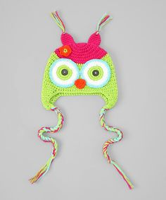 Take a look at this Pink   Lime Owl Earflap Beanie on zulily today! Boinas a642c2816d4