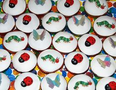 The Very Hungry Caterpillar and Grouchy Ladybug Cupcakes