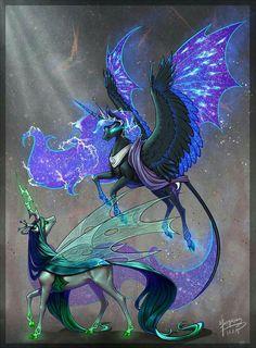 Pegasus Looks like Nightmare Moon and Chrysalis fantasy creatures My Little Pony Fotos, Imagenes My Little Pony, My Little Pony Pictures, Mlp My Little Pony, Mystical Animals, Mythical Creatures Art, Fantasy Creatures, Creature Drawings, Animal Drawings