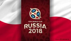 Russia 2018 World Cup design with the logo and the flag of Poland. Russia 2018 logo and elements can only be used for editorial use or with the proper authoriza