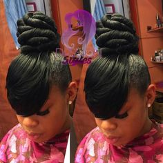 Nice Black Hair Updo Hairstyles, My Hairstyle, Weave Hairstyles, Girl Hairstyles, Hairstyle Wedding, School Hairstyles, Afro Hair Style, Curly Hair Styles, Natural Hair Styles