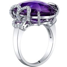 Oravo Jewelry - 14K White Gold 18.50 Carats Amethyst Diamond Imperial Ring . •$1,359.99