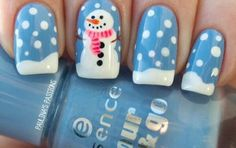 snowman christmas nail design