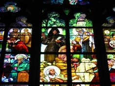 Photo Tour of Castle Hill Prague: Stained Glass Windows of St. Vitus Cathedral, Castle Hill, Prague