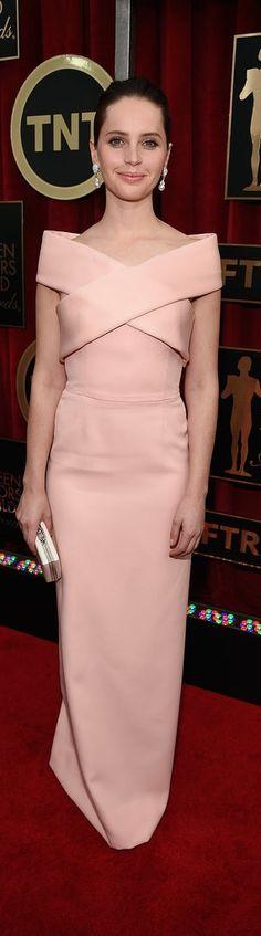 Felicity Jones in Balenciaga at the SAG Awards.