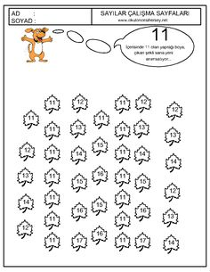 Okul Oncesi 11 Sayisi Cizgi Calismasi Okul Oncesi Okul Matematik