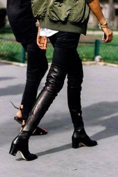 Block heel boots, over the knee boots, bomber jacket, edgy street style, edgy spring 2017 outfit ideas