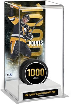 Sidney Crosby Pittsburgh Penguins 1,000 Career Points Deluxe Puck Case with Custom Commemorative Hockey Puck