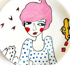 CECILIA  painted unique upcycled plate by bettyraspberry on Etsy, $42.00